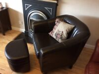 Leather Armchair and Footstool