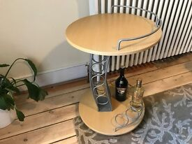 Round Wooden Drinks Trolly / Coffee High Table