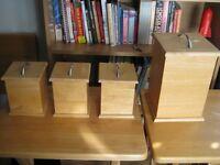 Set of NINE Pine Kitchen Storage Containers Bread Bin, Tea Coffee Etc. Massive Set Bargain £15