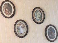 Set of 4 Oval Framed Pictures