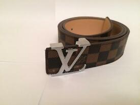 Louis Vuitton Damier Brown Belt with Silver Buckle (36 inch waist)