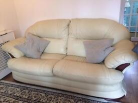 High Quality 2 Seater Cream Leather Sofa