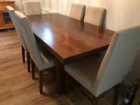 Stunning solid wood dining table & 6 chairs