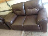 very good condition Brown foxy leather 3 seater + 2 seater sofa only £80 Good bargain