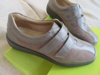 New Hotter Faith Taupe Leather Comfort Flat Lace-up Trainer Style Full Shoe 4
