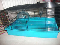 hamster cage, accessories and small animal carry case