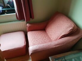 UPHOLSTERED PINK ARMCHAIR AND POUFFE