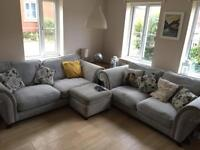 DFS 2 & 3 seater sofa and pouffe