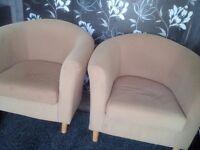 Tub chairs x2 mustard colour material