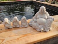 Garden Stone Buddha Buddhas Set x 4