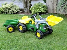 John Deere Child's Ride on Tractor, Trailer and Loader
