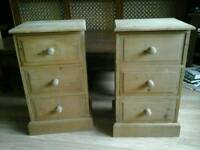 A Pair of Solid Pine Bedside Tables