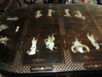 Dining Table and Six Chairs Mother of Pearl and Japanese Black Laquer