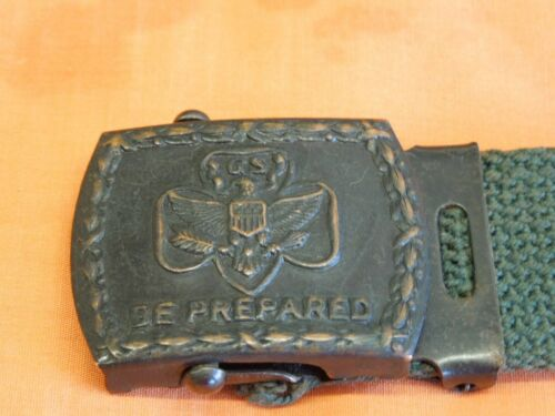"""1930's  Vintage Girl Scout Belt And Buckle  """"GS""""  """"Be Prepared""""  Nice"""