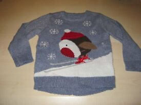 Christmas Jumper with Robin and Snowflakes Aged 3-4 years