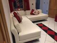 HABITAT CREAM LEATHER SOFA EXCELLENT CONDITION****** SMOKE AND PET FREE HOME*****
