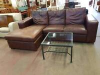 Large brown leather left or right hand corner suite