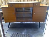 1960s Teak Sideboard/Cabinet with Sliding Patterned Glass Doors by Lebus