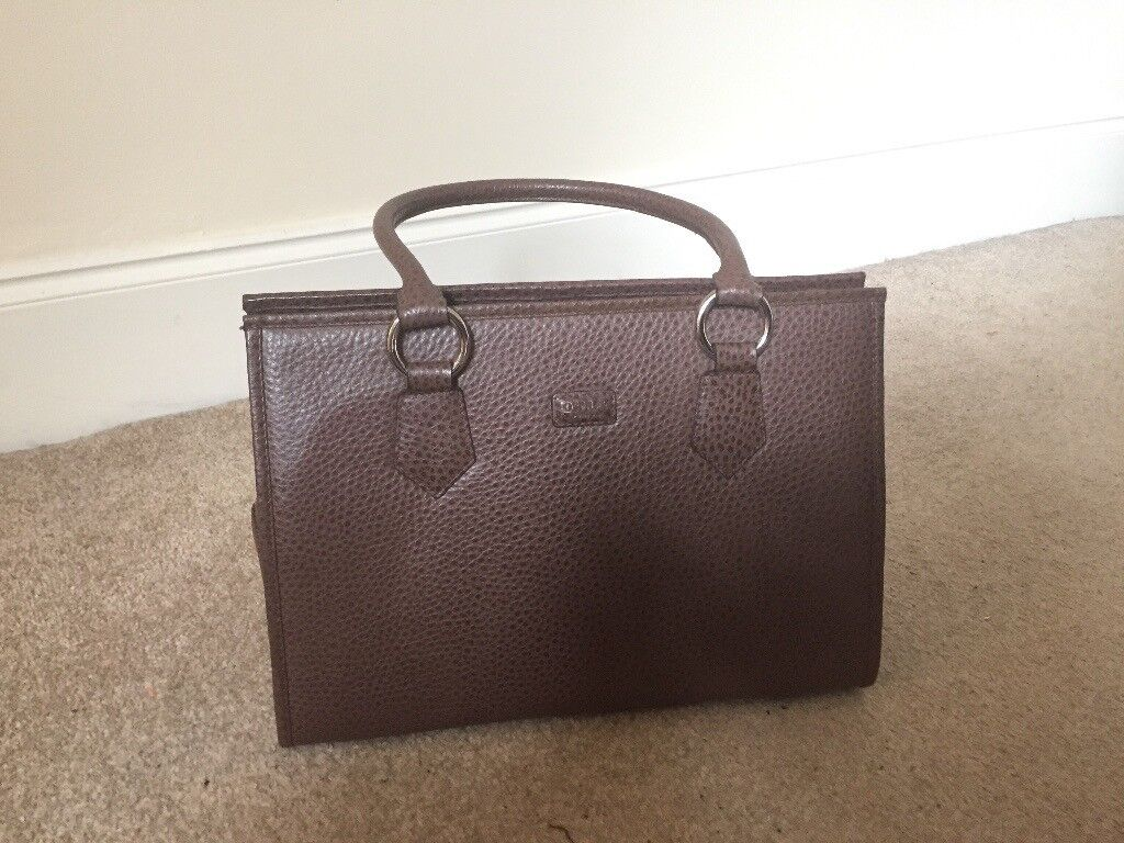 Osprey brown leather ostrich print handbag