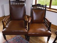Pair of Beautiful Antique Mahogany Arm Chairs