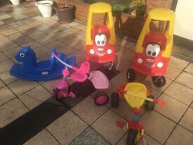 Toys three wheel baby bikes, Bubble cars,rocking horse