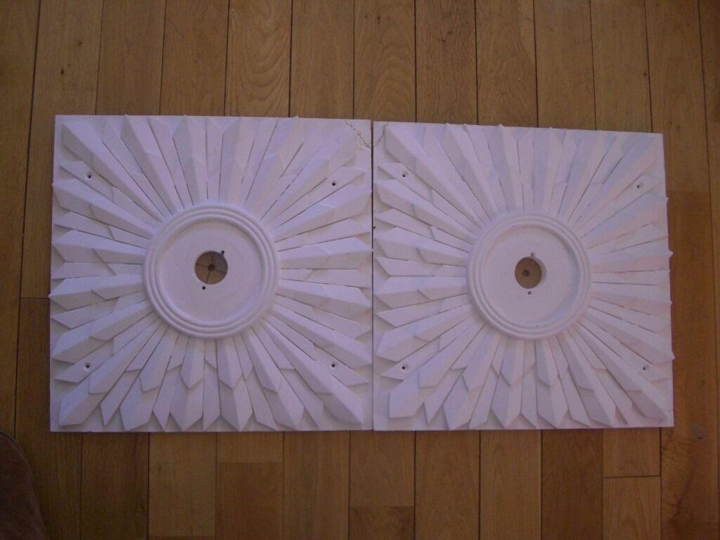 """ART DECO PLASTER CEILING ROSES PAIR SQUARE SUNBURST DESIGN 17"""" X 17"""" HANDMADE"""