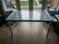 White wood and glass dining table