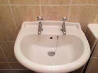 NEW bathroom basin, pedestal, taps, and waste kit