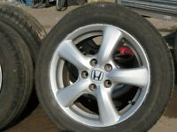 SET OF MINT HONDA CIVIC 5 STUD ALLOYS WITH NEW TYRES FREE FIT & BALANCE MINT COND