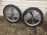 Pair of BMX Mag Wheels with tubes and tyres