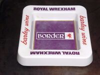 "OLD BORDER BREWERIES ROYAL WREXHAM - BARLEY WINE MELAMINE ASHTRAY 7""x7"" SQUARE VGC SMALL YELLOWMARK"