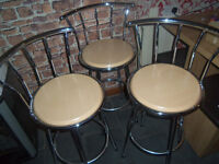 3 tall beech and chrome bar stools exellent order no longer used