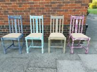 Vintage oak rustic eclectic dining chairs x 4. Distressed/mismatched/boho. LOCAL DELIVERY.