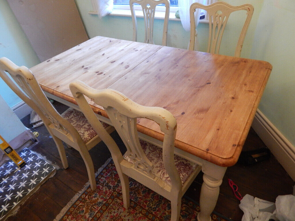 Vintage Table 4 Chairs Extendable To Sit 68 Chunky Wooden Top In Astley Manchester Gumtree