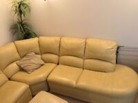 Corner leather sofa recliner can fit up to 8 people with a stool!