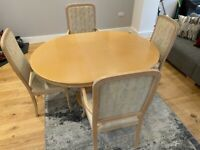 Solid Beech Dining Table with 4 Chairs