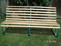 VINTAGE CURVED STEEL BENCH WITH SLATTED ASH SEAT FOR GARDEN.
