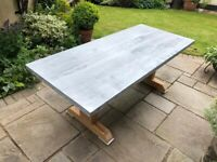 Garden table with solid oak legs and etched galvanised steel top