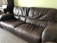 Brown leather style sofa
