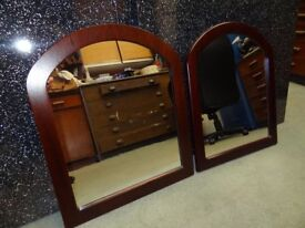 PAIR OF MATCHING MIRRORS SET IN HARDWOOD FRAMES