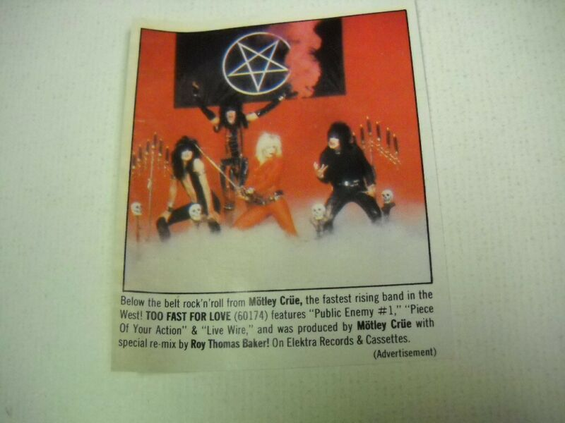 MOTLEY CRUE are below the belt and TOO FAST FOR LOVE 1982 promo trade advert