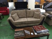 New aura 3+2 seater fabric sofa with wooden legs in soft jumbo cord Hand made in the UK