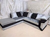 **LIMITED OFFER**MAX DIAMOND CRUSH VELVET CORNER SOFA OR (3+2) **1 YEAR WARRANTY**