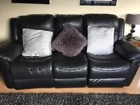 VGC Black Leather 3 seater recliner sofa and two recliner chairs.