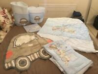 Baby boys bedding- quilt, bumper, rug, storage baskets, picture