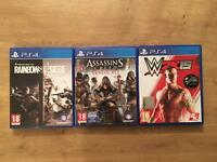 ps4 games assassins creed syndicate, rainbowsix siege, w2k15