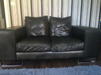 Black Leather 3 + 2 sofa