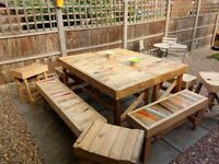 STUNNING, HAND-MADE TABLE & BENCHES - £150 **FINAL PRICE DROP** Must go by Sunday