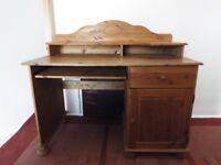 Solid pine computer desk.