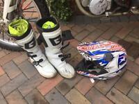 Motocross helmet and boots